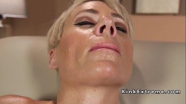 Solo blonde Milf fucks machine in sofa