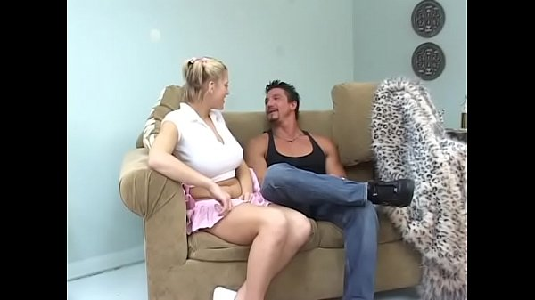 Busty college blonde Eve Lawrence rides fit stud's cock on the sofa