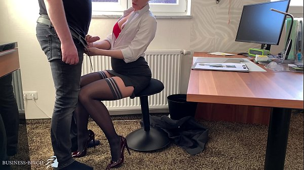 female boss uses her trainee for dick riding, Business Bitch