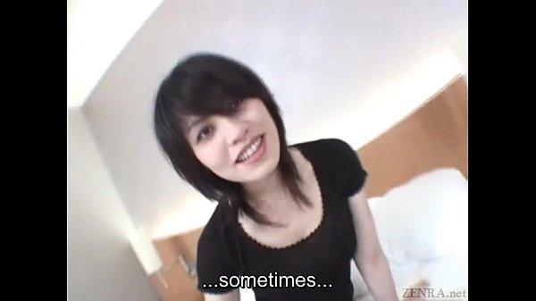 Subtitled pale Japanese unfaithful wife secretly does AV Thumb