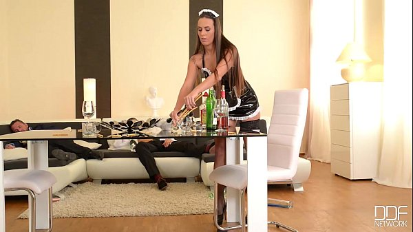Flexible French Maid gets her Ass Double Penetrated by Boss Thumb