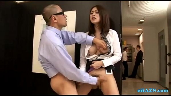 Uniform Women masturbating office in