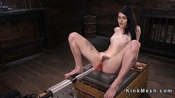 Brunette hard squirts on fucking machine