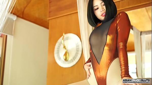 Japanese Teen Girl Niko in Transparent Leotard and Shiny Pantyhose