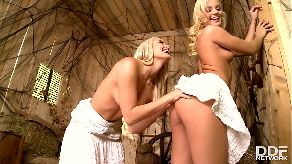Horny blonde babes Blanche Bradburry and Vanda Lust have steamy lesbian sex