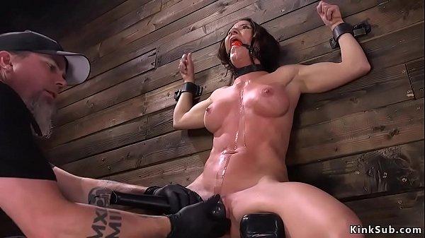 Busty anal slut in device bondage