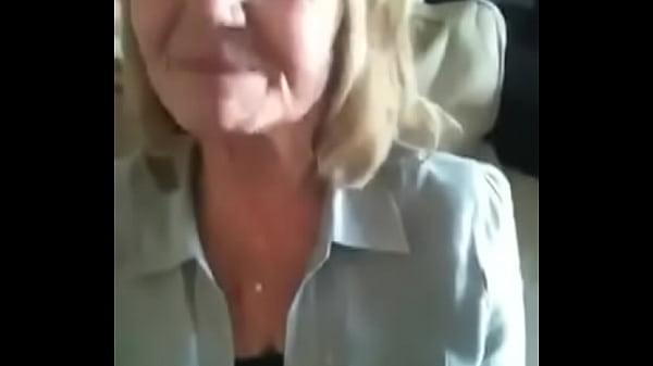 Blonde gilf sucks cock