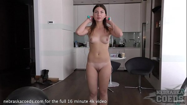super hot sexy 19yo ella working out nude and masturbating with jump rope handle