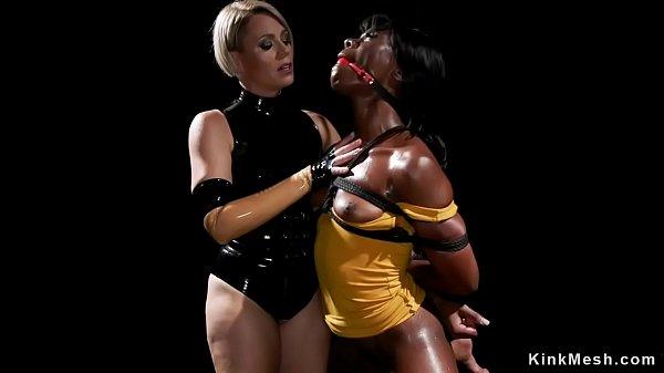 Ebony lesbian anal fucked in bondage