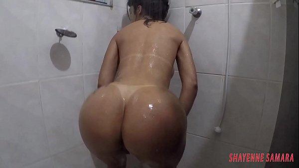 Pornstar Shayenne Samara taking that special bath and being filmed by her friend Thumb