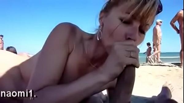 Horny mature drink cum on public