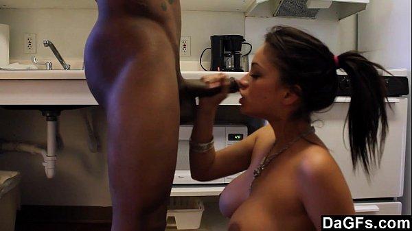 Big titted Latina blows a black cock