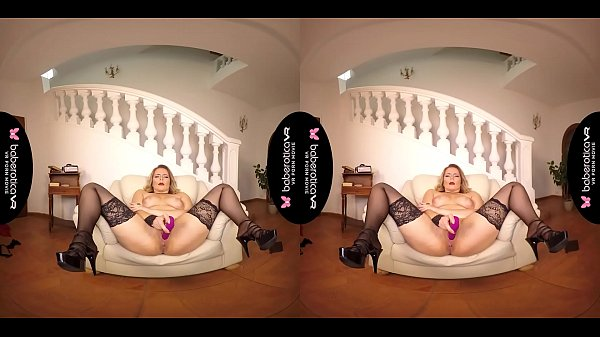Solo blonde woman, Nikky Dream is masturbating, in VR