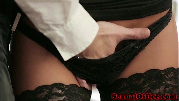 Office secretary in stockings fucked on desk Thumb