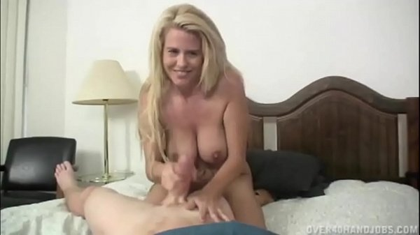 Big chested MILF jerked him off - Over 40 Handjobs