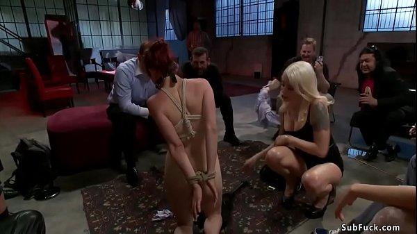 Redhead anal gangbang in public
