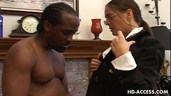 Horny Cheyenne Hunter sucking black dick