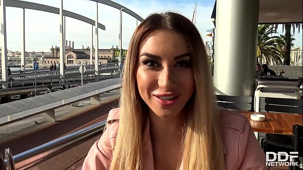 Slim college babe Katrin Tequila blows horny tourist's veiny monster cock