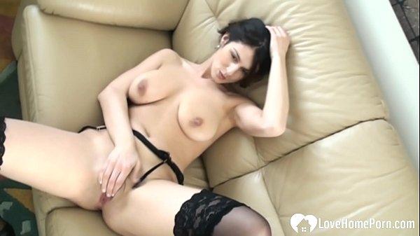 Girl in black lingerie is masturbating solo