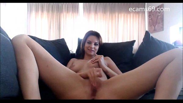 Sweet Brunette Teen Strips and Masturbates on Camera Thumb