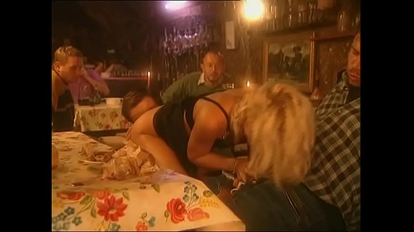 Blonde city girl banged at dinner by a broup of peasants