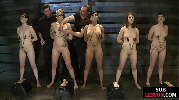 BDSM subs nipple clamped by their master