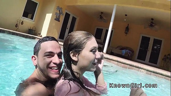 amateur gf poolside blowjob
