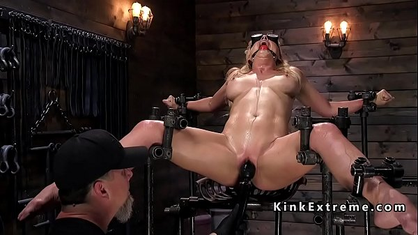 Busty Milf in bondage rides Sybian Thumb