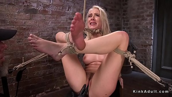 Hogtied blonde feet tormented and whipped