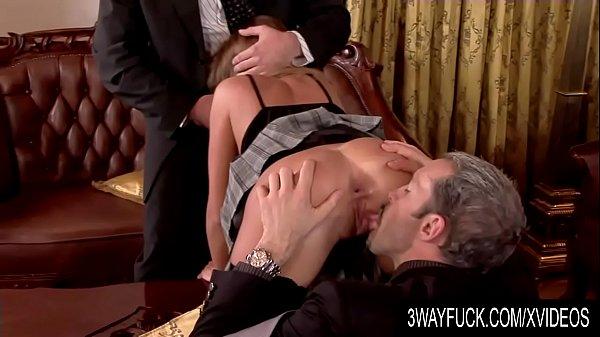 3 Way Fuck - Lauryn May Rotates Her Holes Between Two Lucky Gentlemen