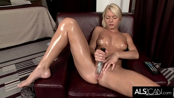 Pinky June Oils Up to Finger and Fuck Her Pussy to Orgasm Thumb