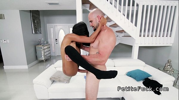 Small ebony with huge tits gets big dick