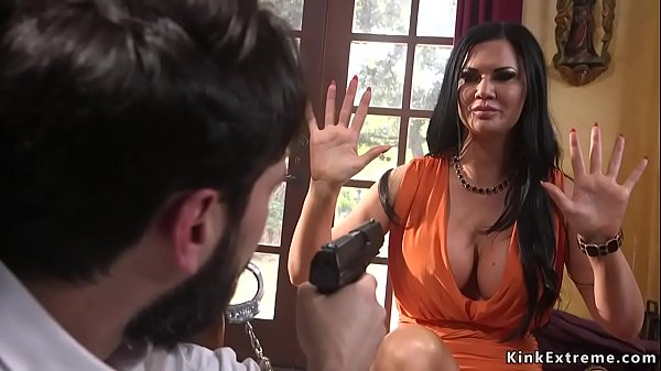 Robber anal fucks busty Milf in bondage