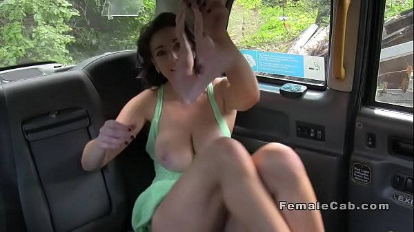 Lesbian babes licking on the bonnet of fake taxi