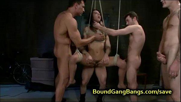 Busty gangbang torture