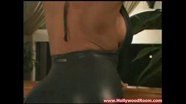 Briana in shiny catsuit and fucking