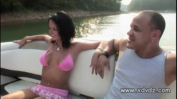 Guys In Party Mood Take Lovely Brunette In Bikini On A Boat Trip