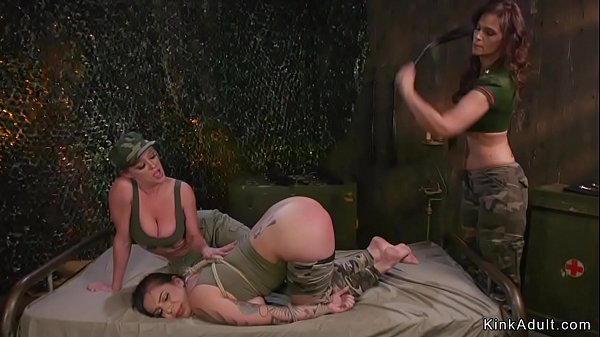 Slave soldier anal fisted in lezdom Thumb