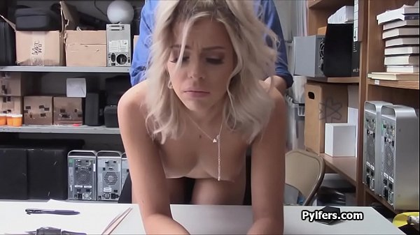 Crazy hot perky blonde caught and fucked at the storage room