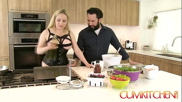 CUM KITCHEN: Busty Blonde Aiden Starr Fucks while Cooking in the Kitchen Thumb