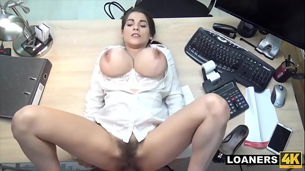 Hot Teen Uses Giant Tits & Hairy Pussy To Swing Loan Agent Decision