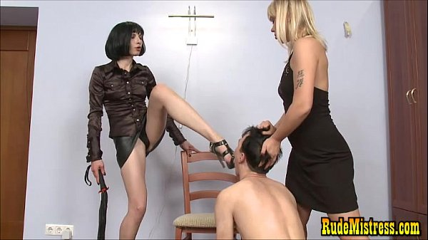 Nasty Femdoms Dominating Poor Guy