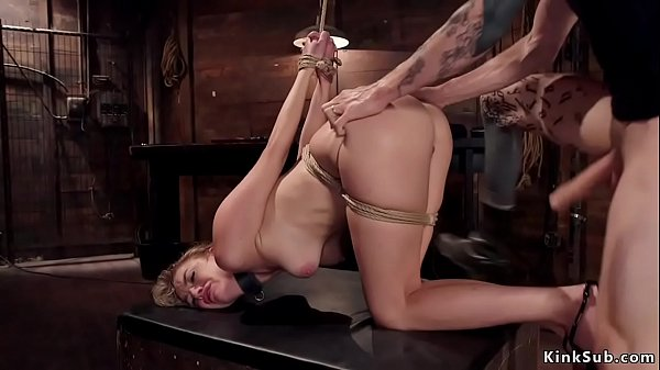 Brunette sub is made to suck and fuck