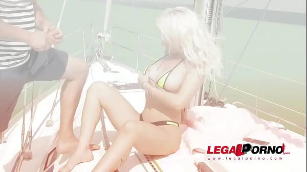 Blonde glamour hottie Christina Shine blows & rides big hard cock on yacht GP285 Thumb