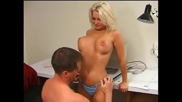 Blonde cheerleader in blue Maya Divine gets fucked at the office