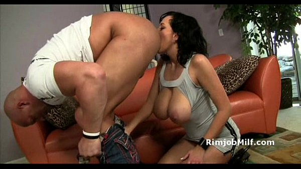 Mature brunette whore seduces bald man and licks his asshole