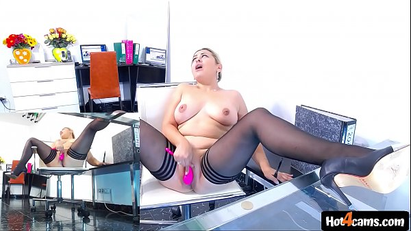 Blonde girl masturbating in the office with massive squirts on the table | LIVE NOW at blondikva.hot4cams.com