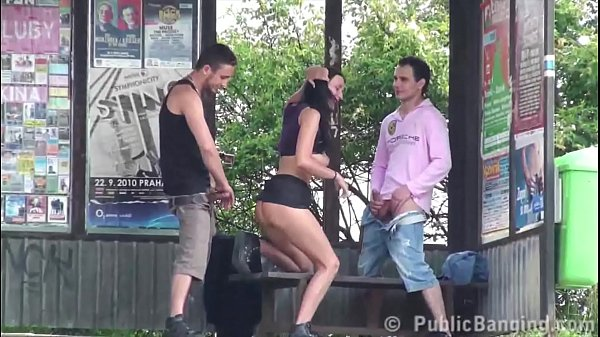 Crazy risky public sex threesome at a bus stop with a hot girl with big tits Thumb