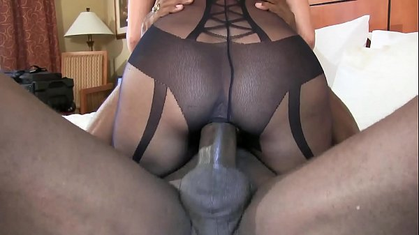 bbc stretch out pussy cowgirl style super sexy brunette wife in black lingerie
