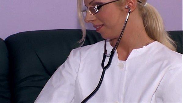 Blonde nurse fucking in white stockings and heels Thumb